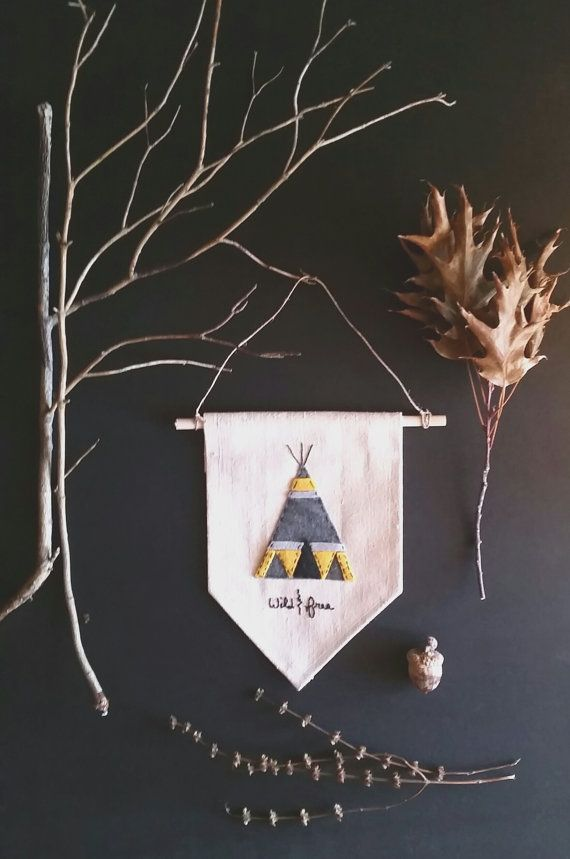 Small Canvas and Felt Wall Banner TeePee by aspenandoak on Etsy #etsy Nursery art.. Childrens room.. Photo wall gallery.. {Shelli Strickbine}