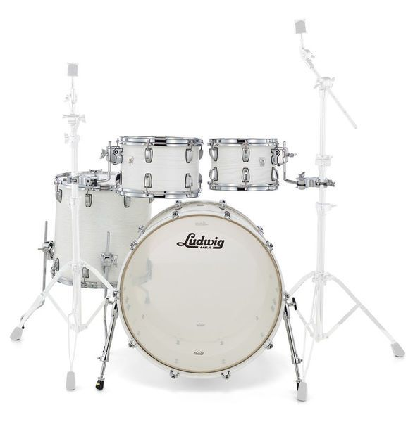 "Ludwig Keystone X Big Beat shell set, finish: Arctic Oak (BW), matte lacquered shell (inner and outer), 3-ply maple shell thomann with inner and outer red oak veneer, 45° double bearing edge,configuration: 22""x16"" Bass Drum (undrilled), 10""x07"" tom, 12""x08"" tom, 16""x16"" floortom"