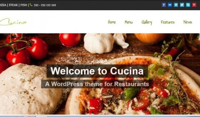 Cucina,the perfect WordPress theme for the restaurants, pubs, bars, wineries and other companies offering foods and drinks.  Features: More than 100 Shortcodes + Shortcode generator More than 600 Webfonts Unlimited sidebars + sidebar generator Unlimited slideshows Unlimited Colors Transparent Backgrounds Transparent Gradients   #wordpress  #food  #webdesign  #drinks  #restaurants  #pubs  #bars  http://goo.gl/rPWBMi