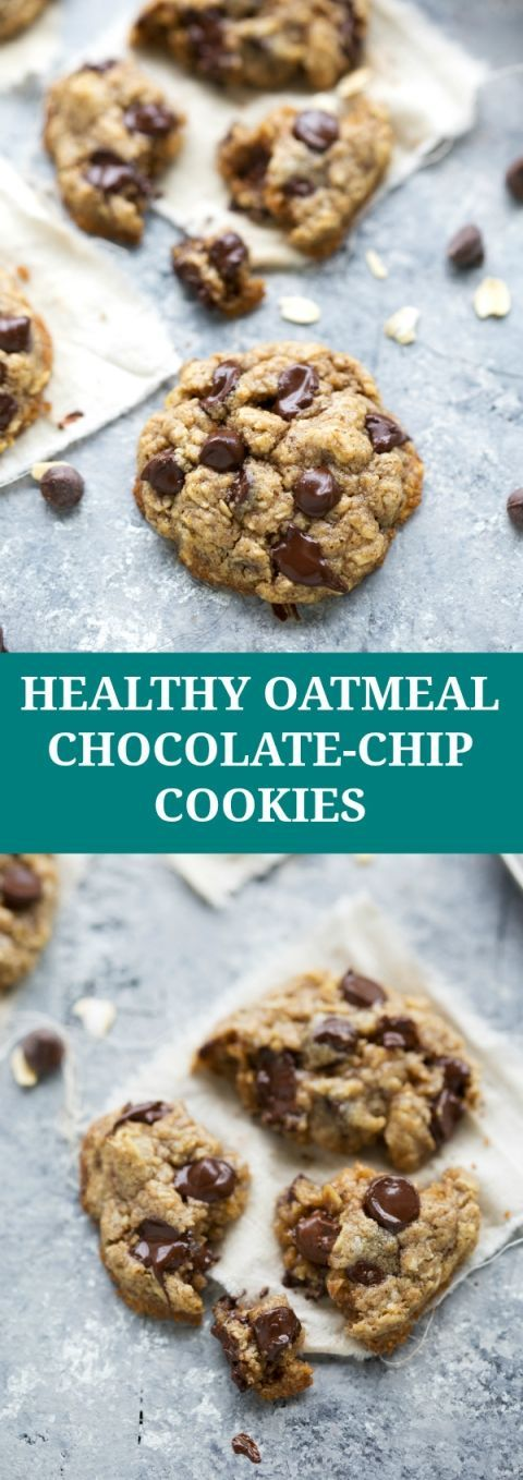 The BEST healthier oatmeal chocolate-chip cookies NO flour or butter ...