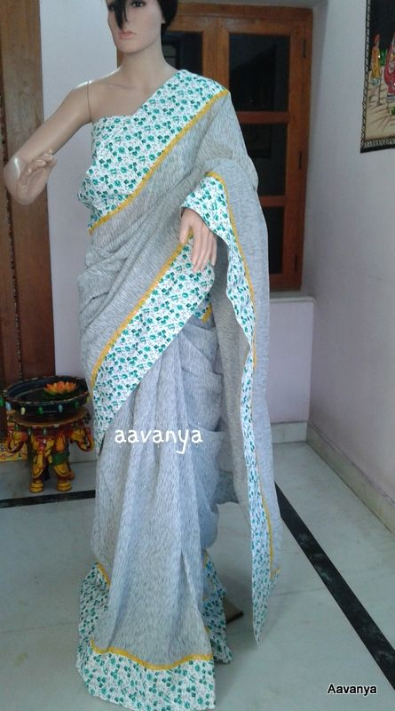 Grey Jute cotton Saree www.facebook.com/aavanya