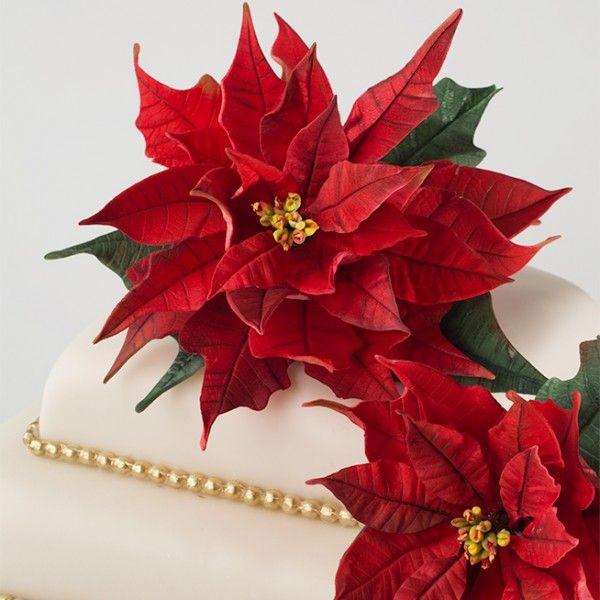 Tutorial para la flor de nochebuena en pasta de goma de Cake Central