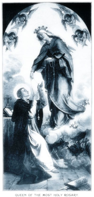 Our Lady presenting the holy rosary to St. Dominic