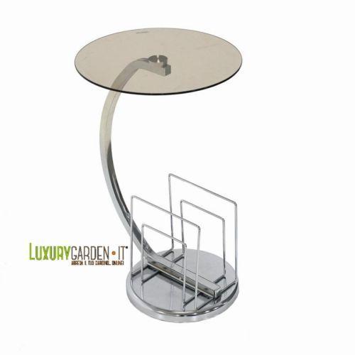 Tavolino-portariviste di design moderno con base e struttura in acciaio e piano d'appoggio in vetro fumè