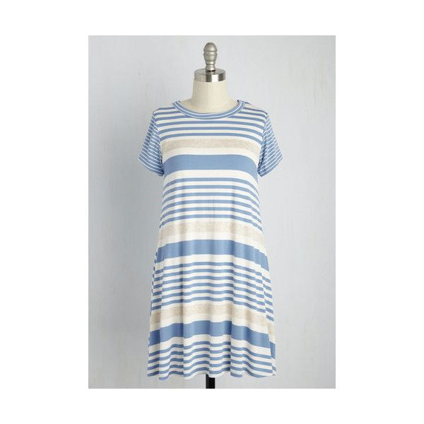 Nautical Mid-length Short Sleeves A-line A Saturday to Remember Dress ($55) ❤ liked on Polyvore featuring dresses, apparel, fashion dress, multi, striped dress, white a line dress, white tee shirt dress, going out dresses and short sleeve dress
