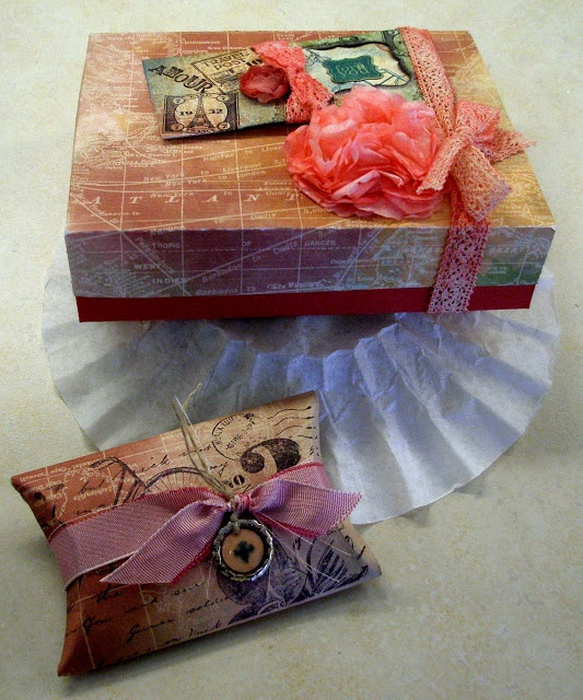 Another Chance to Stamp: VINTAGE SCRAPS!!  Gift Box for 10 cards & envelopes and pillow box for small gift.
