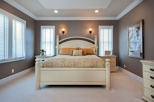Paint ideas for a beveled tray ceiling master bedroom Master bedroom ceiling colors