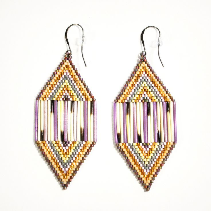"""beyondbuckskin: """"Diamond Shaped Beaded and Quill Earrings by Inuit artist Caroline Blechert. Click here to shop. """" I want to try beading with porcupine quills sometime. Nice earrings!"""