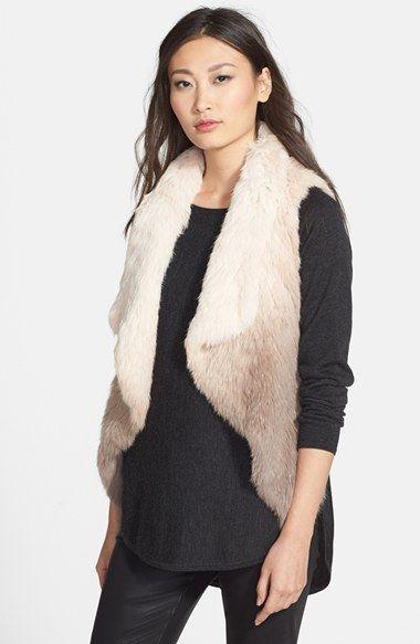 Love Token Ombré Asymmetric Genuine Rabbit Fur Vest | Nordstrom