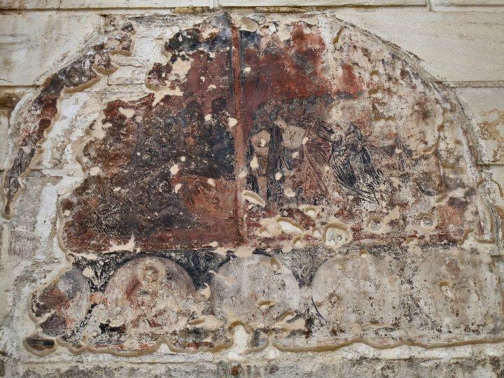 Aghioi Asomatoi on the steps, West  Propylaeum, Hadrian's Library, Monastiraki, Athens
