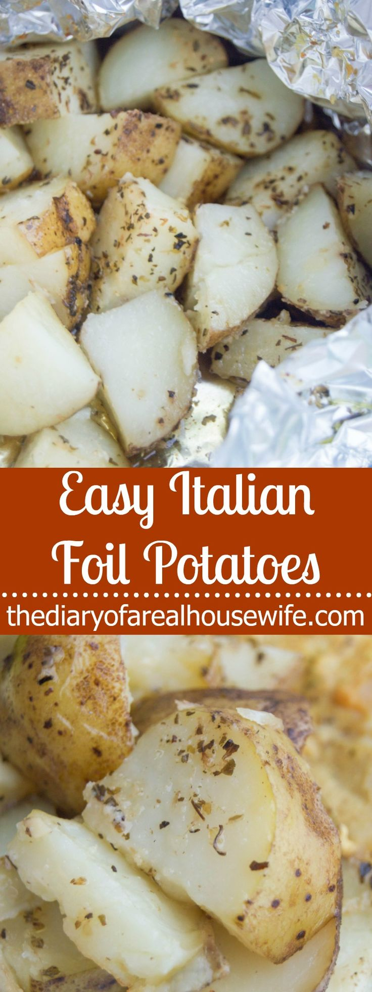 Easy Italian Foil Potatoes. The perfect side dish to any meal and so simple to make. These Easy Italian Foil Potatoes bake in just a few minutes and have easy clean up.
