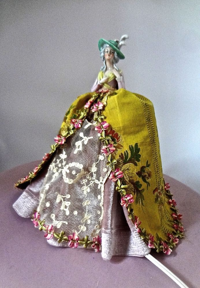 Charming Antique LAMP With Period Porcelain Half Doll Dressed In Couture Gown