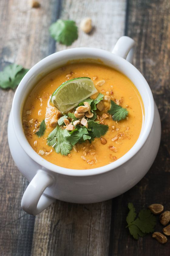 Thai Sweet Potato and Carrot Soup: a hearty and delicious soup in under 30 minutes.