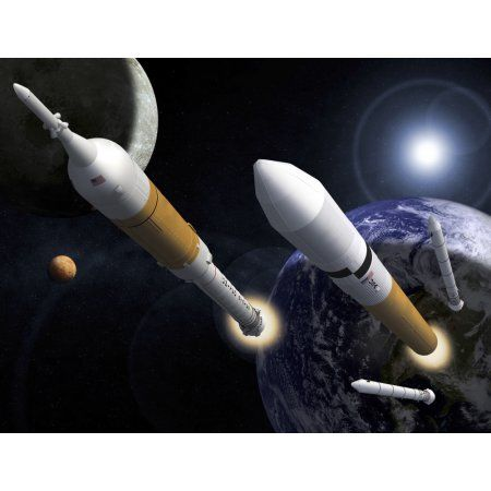 The Ares I Crew Launch Vehicle and the Ares V Cargo Launch Vehicle Canvas Art - Stocktrek Images (32 x 25)