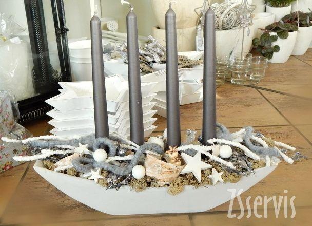 Adventní svícen v keramické misce