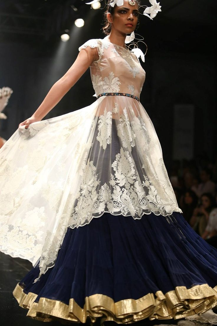 velvet navy blue lehenga skirt and lace top | Suneet Varma Indian Bridal Collection 2015