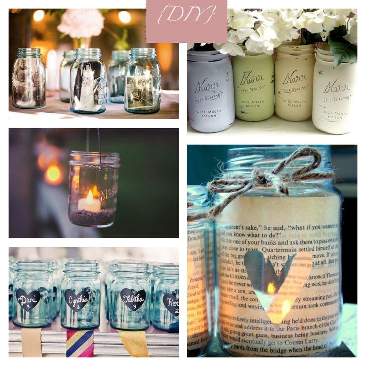 Aproveite os vidros de geleia como lanternas, vasos para flores e até para colocar fotografias da família! #colherdechanoivas #DIY