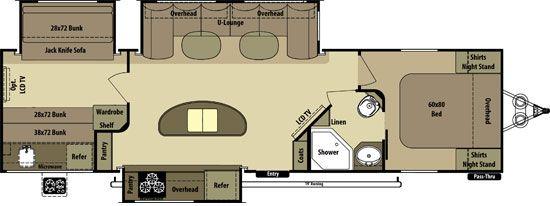 The Light Travel Trailer Floorplans by Open Range RV LT308BHS
