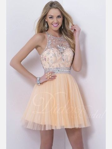 Tulle Beaded High Collar Short Homecoming Dress
