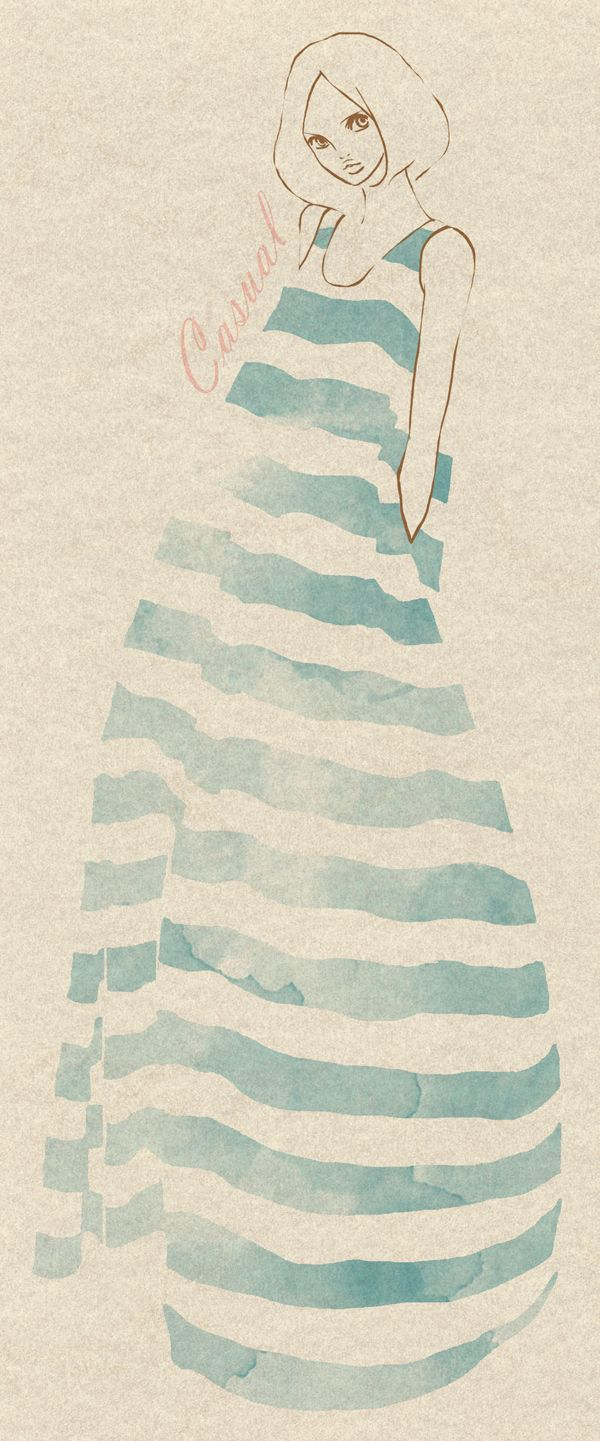 Illustration: Stripe Maxi Dresses, Blue Stripes, Cream Stripe, Casual Stripes, Illustration Fashion, Simple Drawing, Casual Blue, Fashion Illustrations, Art Illustration