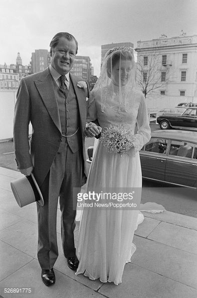 John Spencer, 8th Earl Spencer arrives with his daughter Lady Jane Spencer, before her wedding to Robert Fellowes in London on 20th April 1978.