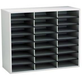 Organize literature, mail, forms and more. Fast and easy assembly. Letter-sized sorting compartments. Corrugated divider system with high-strength frame. Includes plastic finishing channels and self-adhesive labels for easy file identification. Literature Sorter Type: Open Front; Number of Compartments: 24; Compartment Size: 9w x 11 5/8d x 2 1/2h; Letter; Material(s): Corrugated Fiberboard; Laminated.