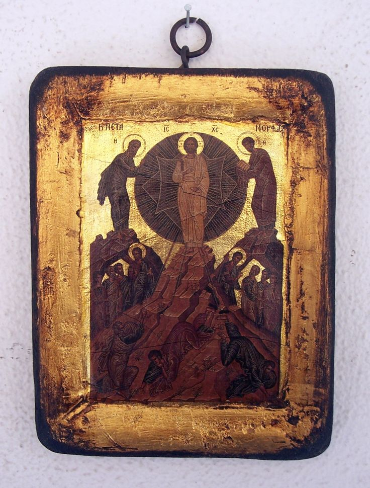 Orthodox greek religious icon with mount Athos style, vintage and byzantine style. In greek << ΜΕΤΑΜΟΡΦΩΣΙΣ>> or transfiguration of Jesus by GardenOfLinda on Etsy