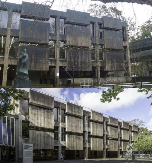 Before and after the façade cleaning:  Colin Madigan: Macquarie University Library (C7A) Macquarie Australia 19671978  Photos:  Vanessa Berry 2011 /  Peter Miller 2017