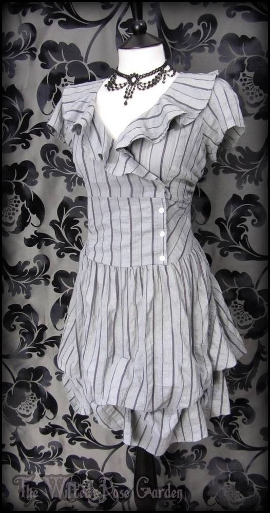Victorian Grey Purple Stripe Ruffle Hitched Dress 14 Steampunk Romantic Vintage   THE WILTED ROSE GARDEN