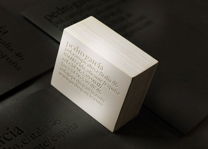 Blind Embossed Business Card For Pedro Garcia Designed By Clase Bcn