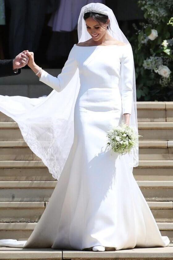 Who Designed Megan S Wedding Dress.Meghan Markle Wedding Dress With 3 4 Sleeves White Dresses Wedding