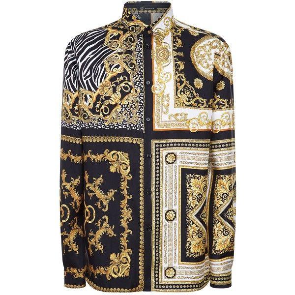 Versace Signature 17 Print Silk Shirt (1,615 CAD) ❤ liked on Polyvore featuring men's fashion, men's clothing, men's shirts, men's casual shirts, mens formal shirts, mens patterned shirts, mens 80s t shirts, versace mens shirt and mens baroque shirt