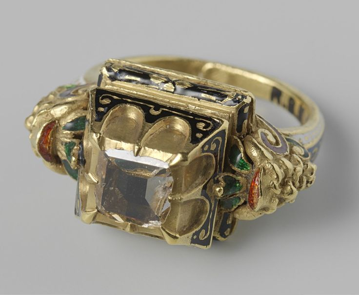 Gold and enamel ring set with a table cut (?) diamond. Italy, 16th century