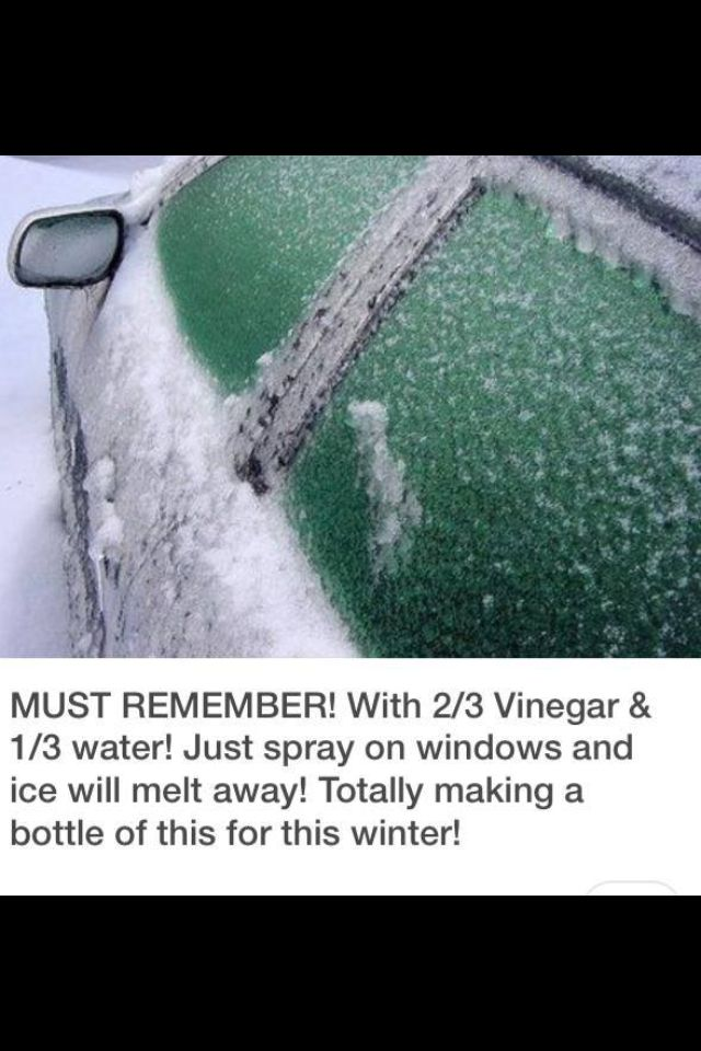 Spray on home remedy for getting ice off car windows!