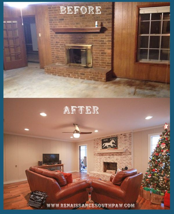 DIY Brick and Mortar Wash Technique on fireplace. DIY Board and Batten on interior walls. Picture and video Tutorial-Before and After