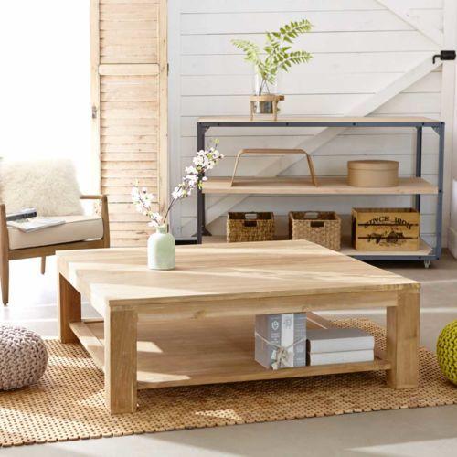 Table basse carrée en bois de Teck Brut Qualite Grade A - 120cm
