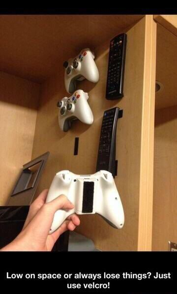 Shortage of space or just to be organized with video game controllers, remotes, ect.