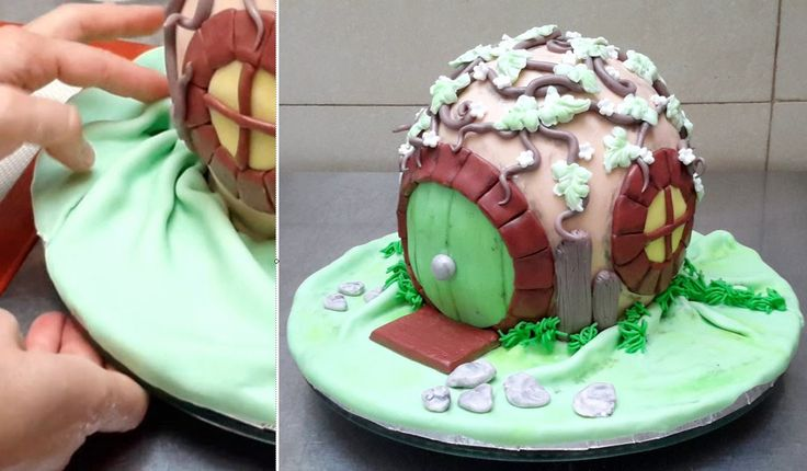 Hobbit House Cake - Birthday Cake Ideas. Tutorial by CakesStepbyStep.