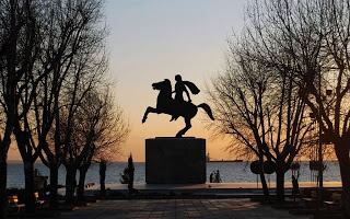 """Alexander the Great  Statue , at Thessaloniki promenade( The city of Thessaloniki was founded in 315 BC by king Cassander of Macedonia.    The foundation  It got its name from Thessaloniki, Cassander's wife and half-sister of Alexander the Great, who, in turn, was named like that after her father, king Phillip II of Macedonia, to commemorate his victory over the Phocians with the help of Thessalian horsemen. Thessaloniki, in Greek, actually means the """"victory of the Thessalians"""". )"""