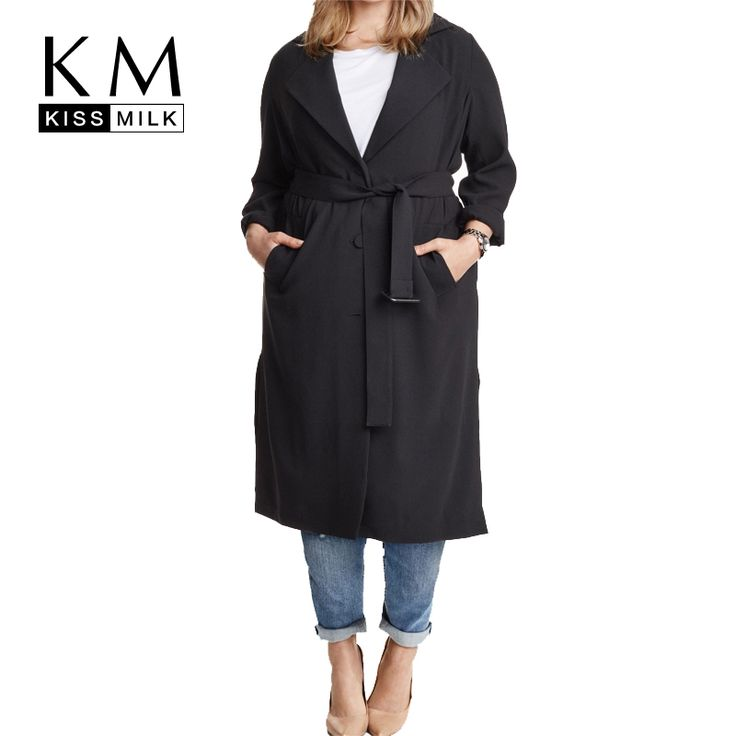 Plus Size Solid Black Single Breasted Sash Women Warm Coat Turn-Down Collar Long Sleeve Trench Coat