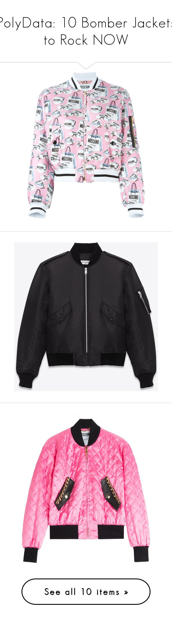"""PolyData: 10 Bomber Jackets to Rock NOW"" by polyvore ❤ liked on Polyvore featuring polydata, outerwear, jackets, bomber jacket, pink, zip front jacket, pink jacket, long sleeve jacket, silk jacket and stand collar jacket"