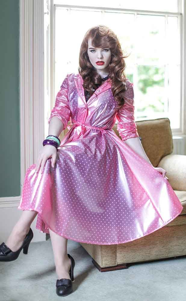 Elements Vintage Pink Polka Dot Romantica Raincoat
