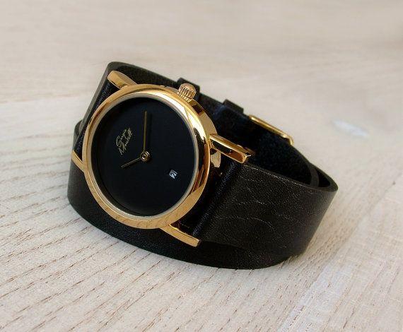Black Wrap Strap Watch | Minimalistische Watch | Lederen horloge | Polshorloge | Womens Watch | Stijlvol horloge met op maat gemaakte leerriem Wrap