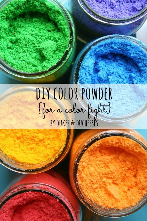 Who needs a color run - make your own homemade color run powder with this  DIY Color Powder Tutorial on Dukes and Duchesses. More Kids Craft Ideas for Summer on Frugal Coupon Living.