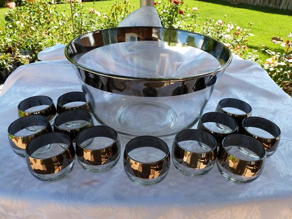 Large mid-century punch bowl trimmed in smokey silver with 12 roly-poly cups Dorothy Thorpe style