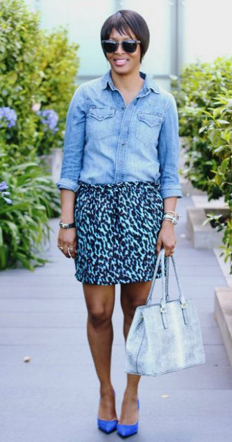 Chambray shirt with skirt