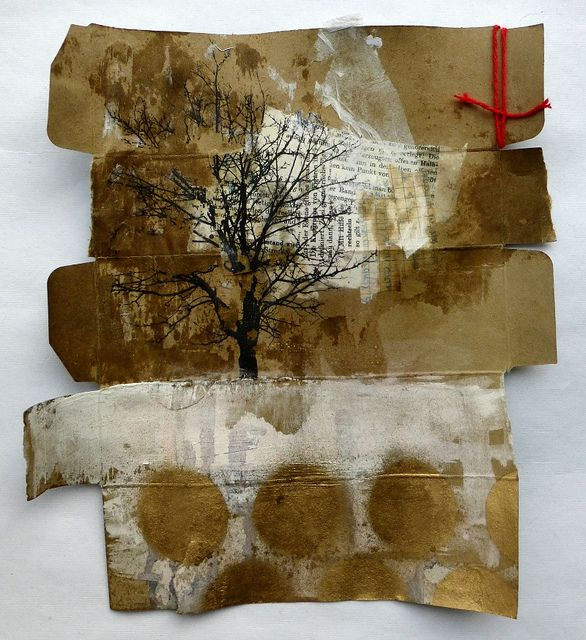 Ines Seidel altered cardboard packaging with phototransfer, gesso, acryl, collage, wax