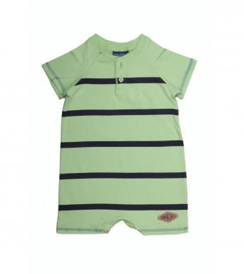 """Short-sleeved babygrow for baby boys, with our fun """"Slick"""" stripe and button detail."""