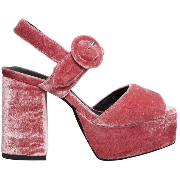 Jeffrey Campbell Women 110mm Masie Velvet Platform Sandals ($175) ❤ liked on Polyvore featuring shoes, sandals, pink, pink high heel shoes, platform sandals, jeffrey campbell sandals, rubber sole sandals and high heel shoes