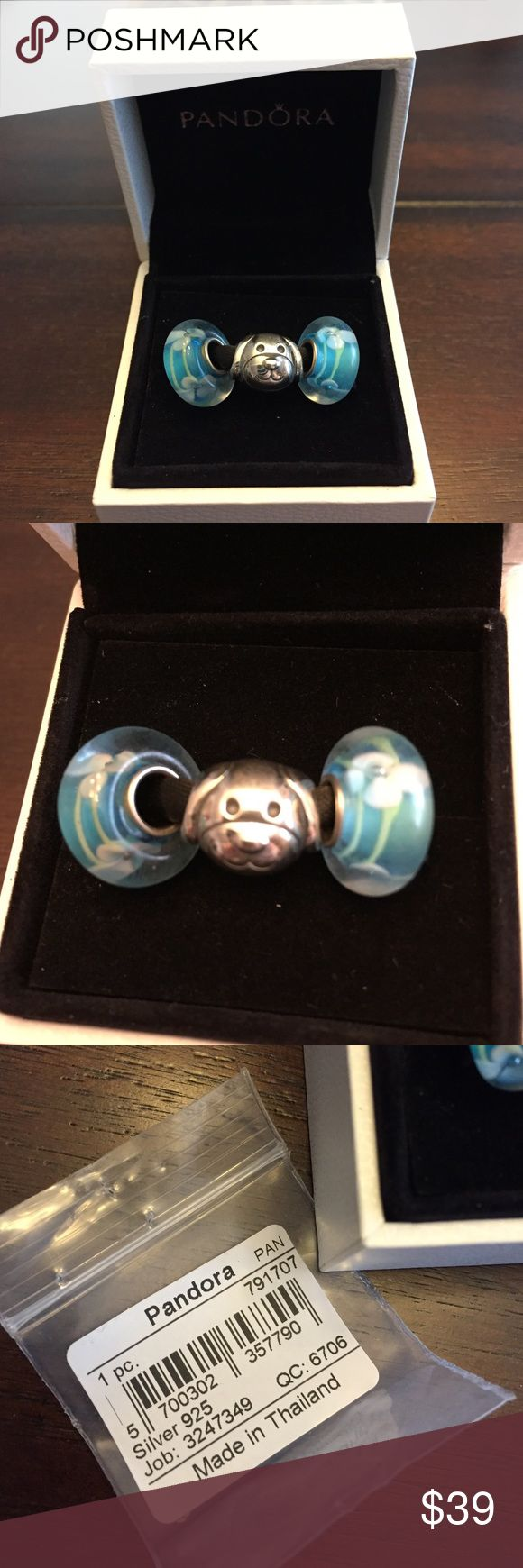 Pandora Dog Charm & 2 Non Brand Glass Beads! Brand new one Authentic Pandora devoted Dog Charm & 2 Non Brand Murano Glass teal blue flower beads! Cute set for your Pandora bracelet! No box (only used to display item.) Thank you! Pandora Jewelry Bracelets